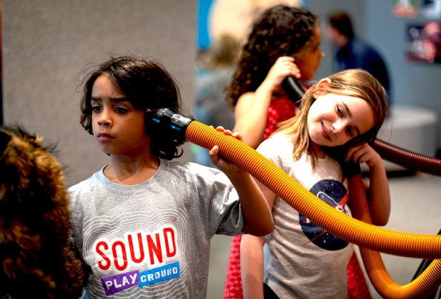 Sound Playground lets little ones (and curious grownups) explore all things sound. Photo courtesy of the  Chicago Children's Museum