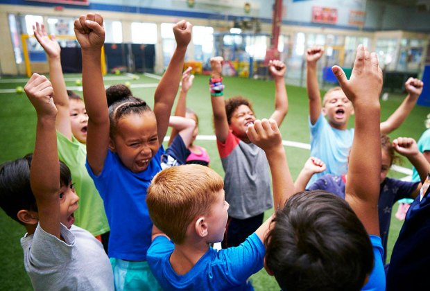 The toddler gym, basketball courts, and enclosed turf soccer fields at Chelsea Piers Field House get the preschool crowd pumped.