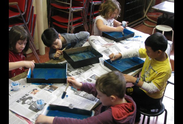 Children making creative projects