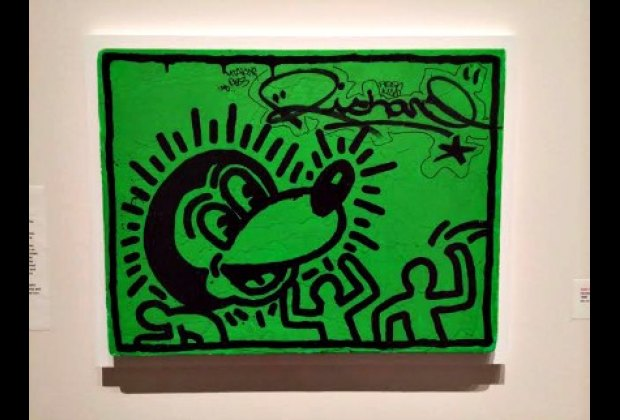 A few pieces by the legendary Keith Haring are on view