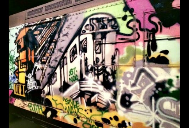 My daughter loved that an artist painted a subway car on an actual subway car