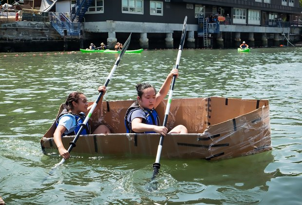 Build a cardboard boat and more at City of Water Day at various locations in  Manhattan. Photo courtesy of the event