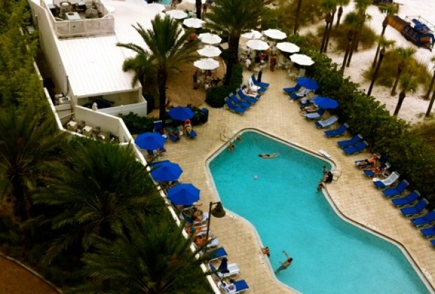 There are two pools, plus a hot tub and a poolside bar and grill