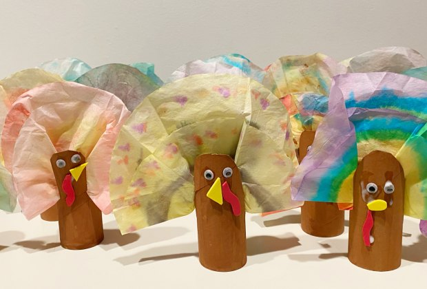 Coffee filter turkeys Thanksgiving craft