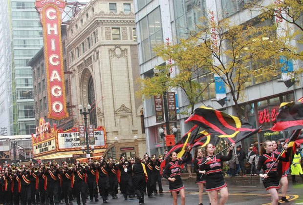 The Columbus Day Parade starts at 12:30 with over 150 bands, floats, and marchers. Photo courtesy of the  City of Chicago