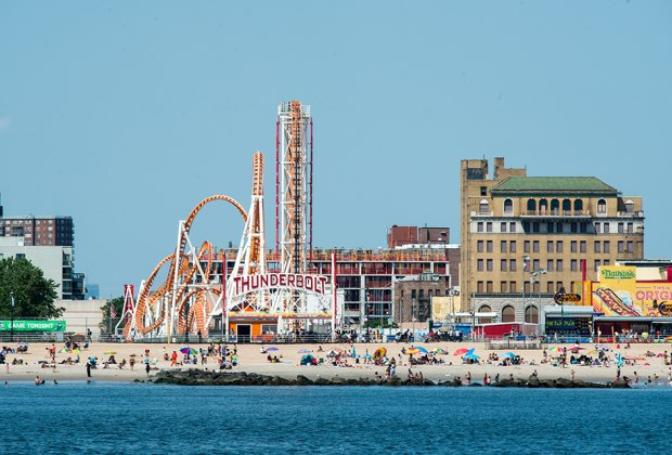 View of the Coney Island shore from the water