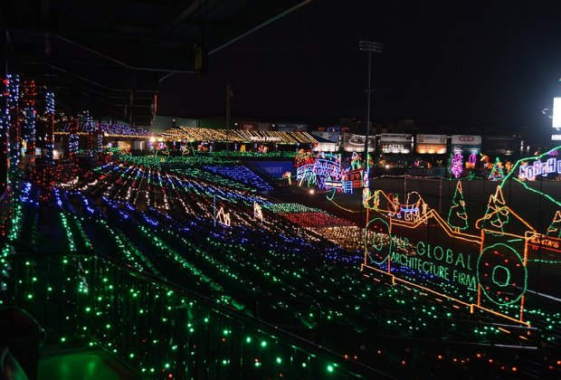 Immerse yourself in holiday lights taking over Constellation Field, then pay Santa a visit./Photo courtesy of Sugar Land Skeeters.