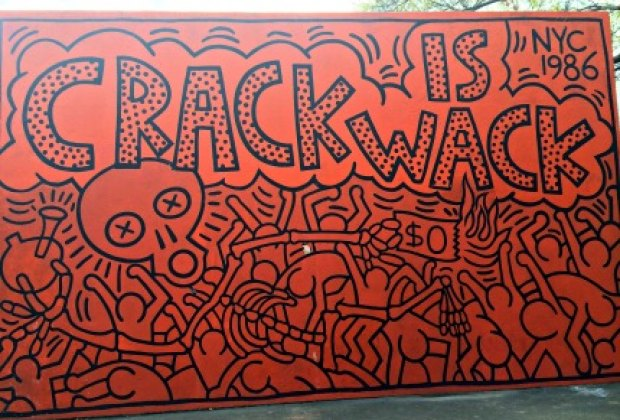 Keith Haring's famous Crack is Wack mural hangs in an East Harlem playground