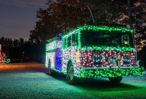 See decorated fire trucks and more at Diggerland's Holidig Light Show