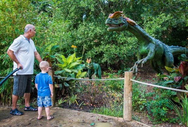 Families can get up close and personal with animatronic dinosaurs at The Houston Zoo. Photo courtesy of Stephanie Adams.
