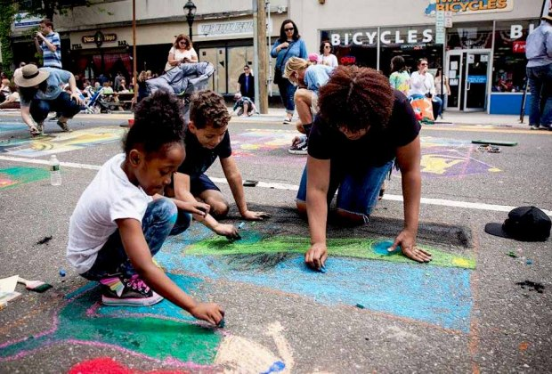 Enjoy street painting  and more at the 22nd annual spring festival in Riverhead. Photo courtesy of East End Arts