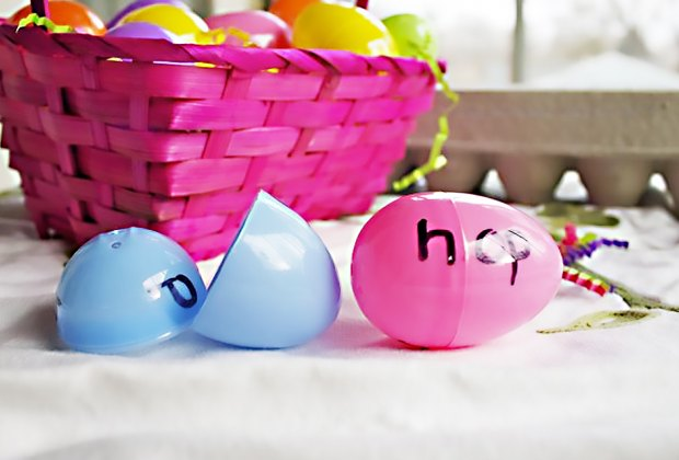 Easy Easter Crafts for Kids:Use old plastic eggs for this fun learning game.