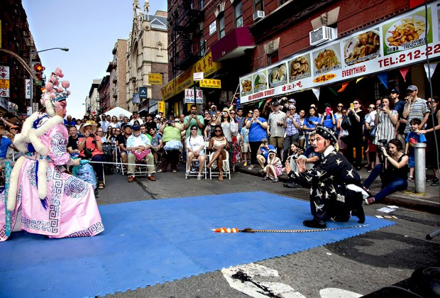 Egg Rolls, Egg Cream, and Empanadas is a multicultural block party that pairs Chinese Opera and acrobatics with klezmer music and mambo. Photo courtesy of the Museum at Eldridge Street