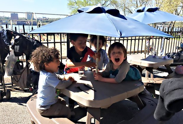 Kids get their own special tables at Ellington in the Park.