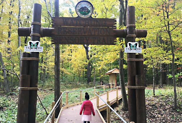 Watchung Reservation Sensory Trail girl on trail nj staycation