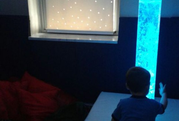 Kids of all abilities love the dark room and bubble tube at CAP House