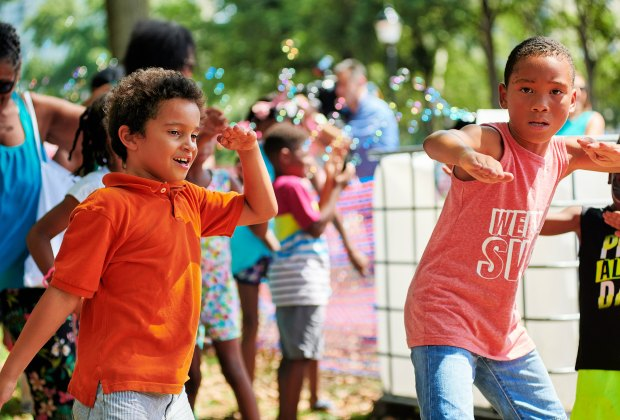 Let's Rock Recess, a free family dance party every Sunday from 2-7pm with prizes, a DJ, face painting and games in the beer garden for Fairmount Park Conservancy. Photo by  Albert Yee