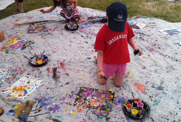 Create a drip masterpiece at the Jackson Pollock House family workshop. Photo courtesy of the event