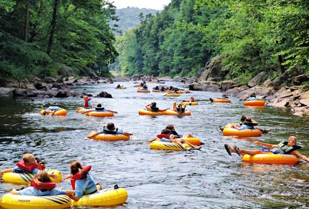 Tubing down the Farmington River is a fun activity with kids.