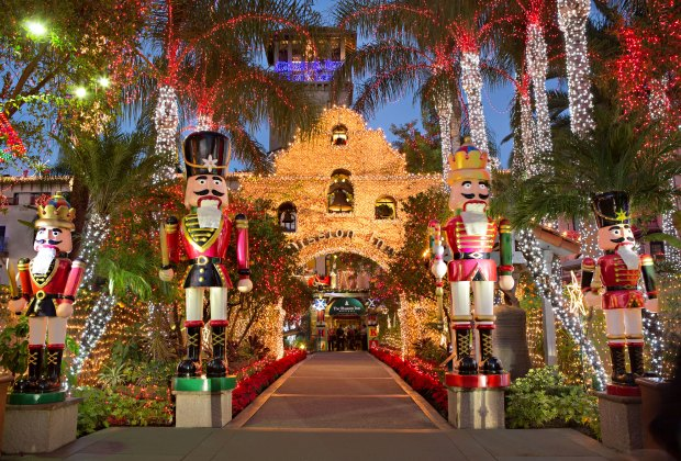 Celebrate Riverside's Festival of Lights with a stop at the spectacularly decorated Mission Inn. Photo courtesy of The Mission Inn