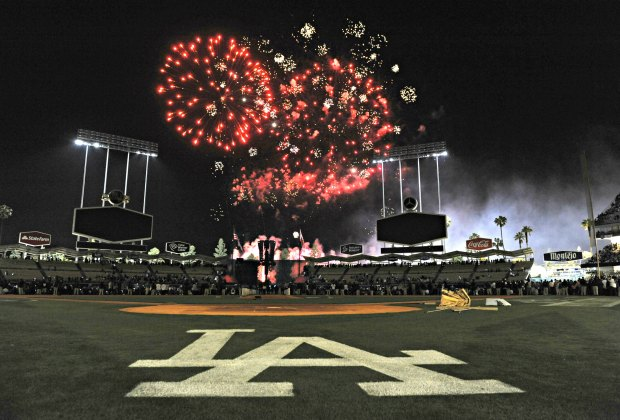 Watch a baseball game and the fireworks at Dodger Stadium. Photo courtesy of the Los Angeles Dodgers