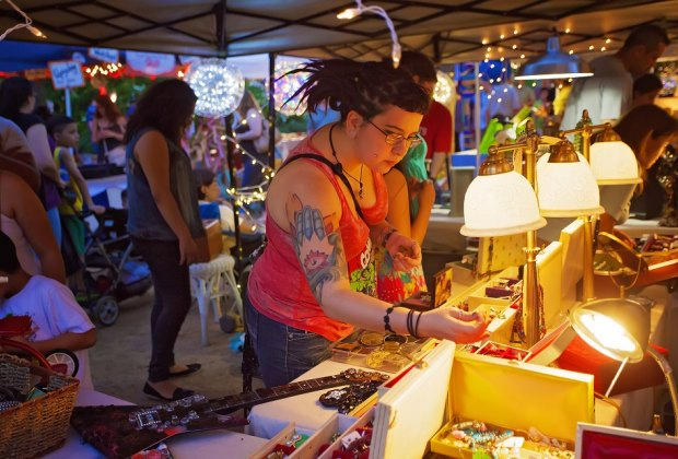 Shop an array of unique finds at the popular night market known as Flea by Night at Discovery Green. Photo courtesy of Katya Horner.