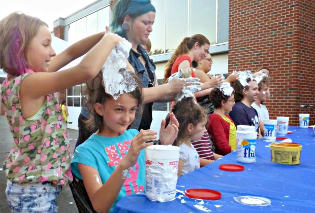Marshmallow becomes a hair product, too, at the What the Fluff Festival. Photo by Linda Gritz