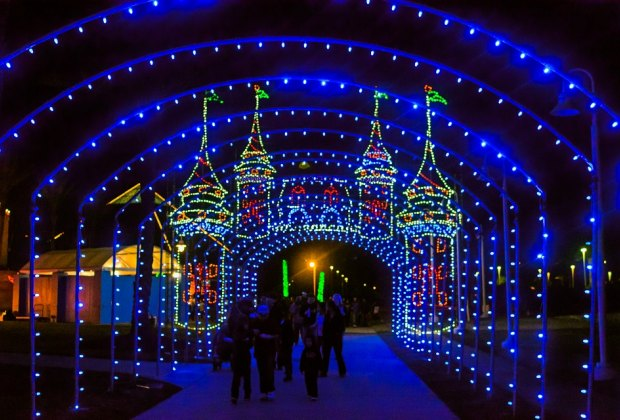 It's the last weekend for Moody Gardens' Festival of Lights, so now's the time to get in your holiday lights fix./Photo courtesy of Galveston CVB.