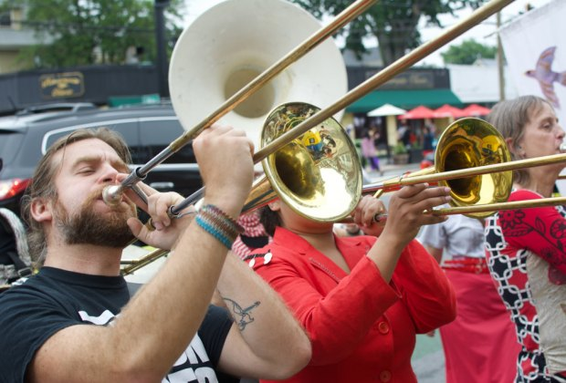 The brass section shines at the Fox Festival. Photo by Milton Bevington