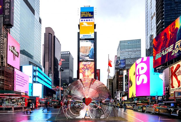 Window to the Heart will be unveiled this February in Times Square. Rendering courtesy of Aranda\Lasch + Marcelo Coelho with Formlabs