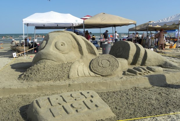 Watch the professionals turn the beach into an art gallery at the annual AIA Sand Castle Competition. Photo courtesy of Galveston Island Convention & Visitors Bureau.