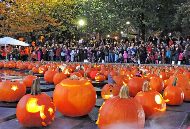 Top photo: Jack-O-Lanterns light up the evening at the Frog Pond Pumpkin Float; photo courtesy of Boston Common Frog Pond
