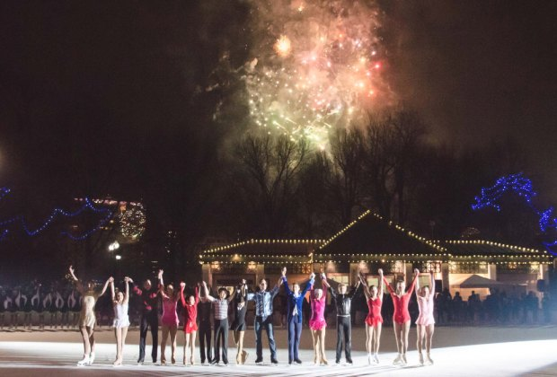 Revelers ring in the new year with a skating show and fireworks at the Frog Pond. Photo courtesy of The Skating Club of Boston