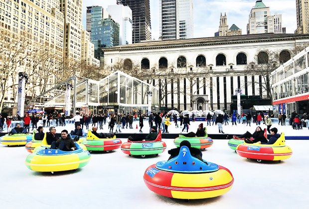 These bumper cars go on the ice! Slide, spin, and bump on The Rink during FrostFest at Bryant Park. Photo by Janet Bloom