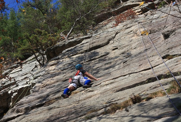 Rock climbing is a popular activity in the Mohonk Preserve