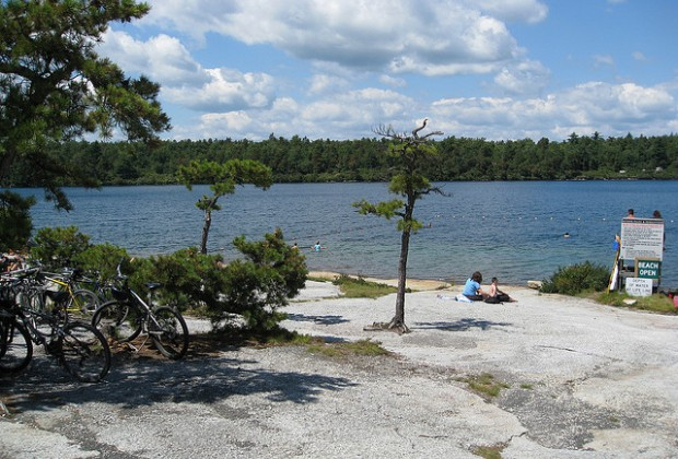 Even in summer, the beach at Lake Awosting is uncrowded