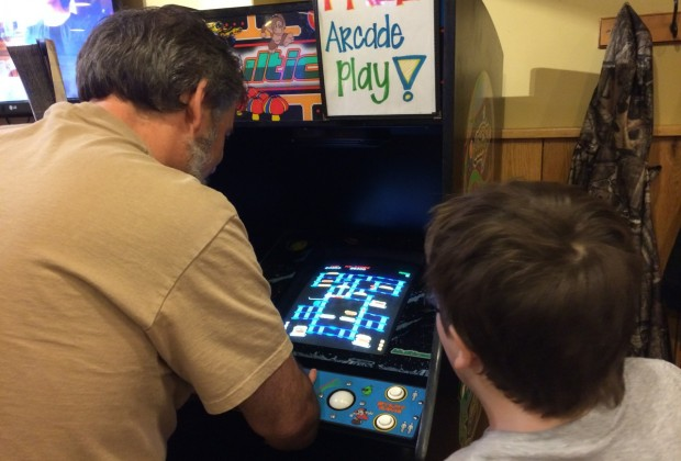 Kids can play unlimited video games at Moe's if they can get their uncle to give them a turn