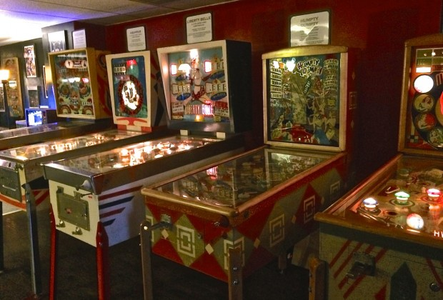 Some of the origianl pinball machines at the Asheville Pinball Museum