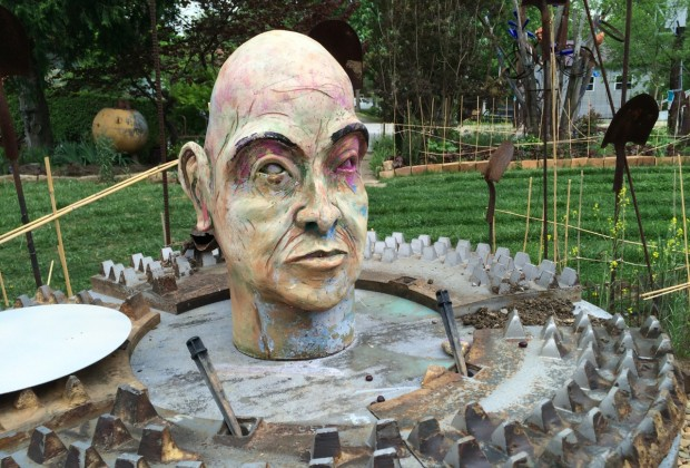 A garden in West Asheville has sculptures made from found objects