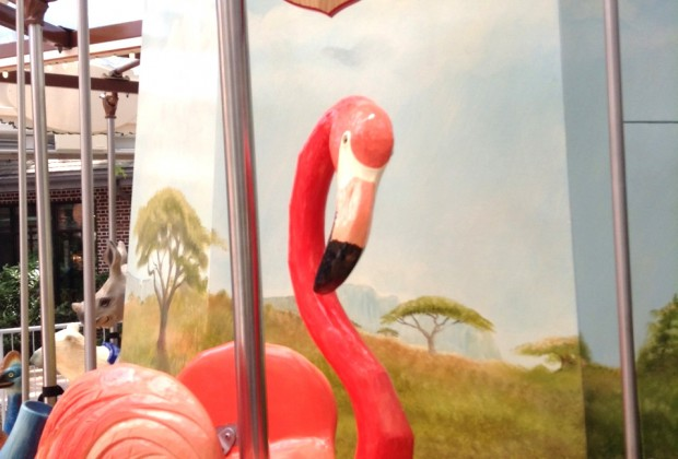 A pink flamingo (designed for tiny riders)...
