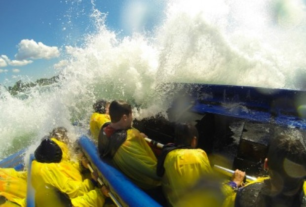 The First Wave Crashing during our  Jet Boat Trip / Chad Case Photography