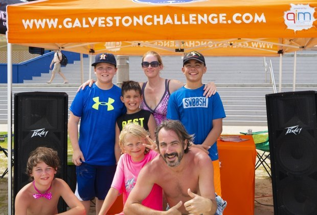 Families can work together to tackle a variety of obstacles and activities during the the Galveston Beach Challenge. Photo courtesy of Galveston Convention & Visitors Bureau.