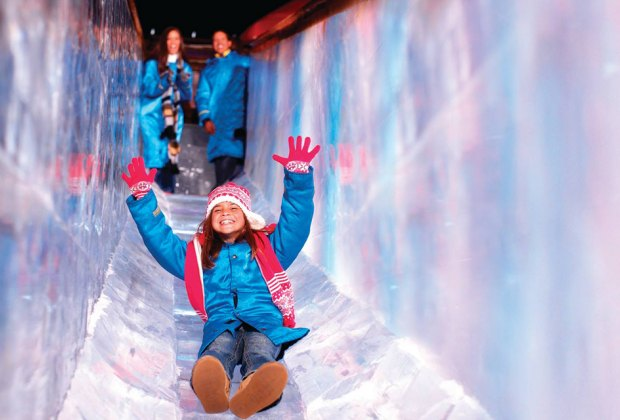 Get ready to zoom down the two-story ice slides at Gaylord National Resort. Photo courtesy of the resort