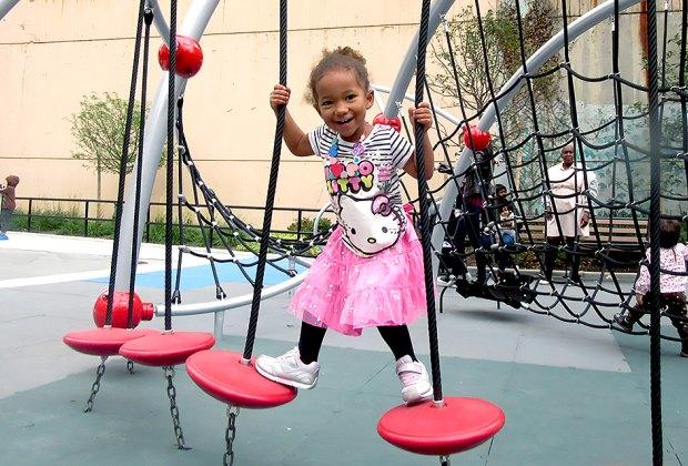 Find your balance at Gertrude Ederle Playground.