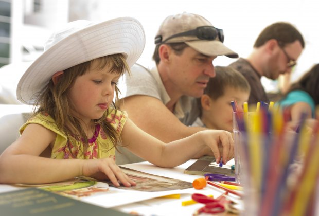 Create your own masterpiece at the Getty's Family Art Lab. Photo courtesy of Getty Center