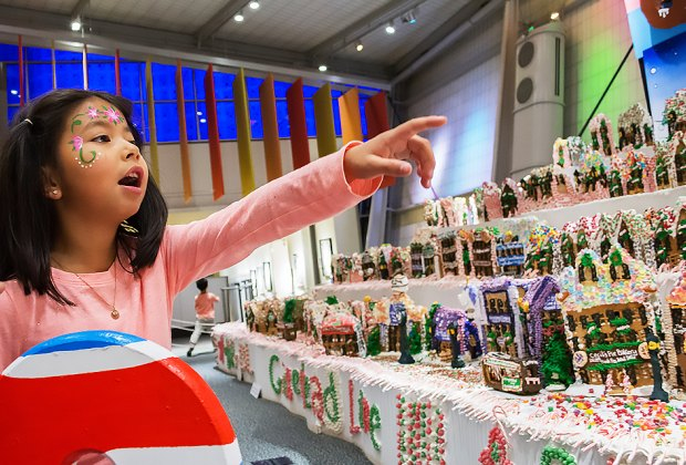 Don't miss the fabulous Gingerbread Lane at the New York Hall of Science. Photo courtesy of NYSCI