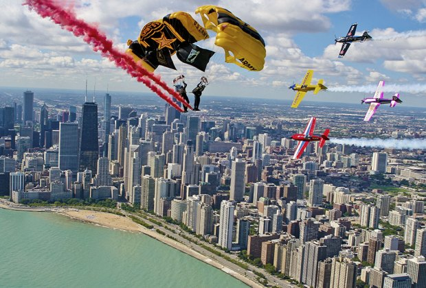 See the Golden Knights take to the sky at the Chicago Air and Water Show. Photo courtesy of the show