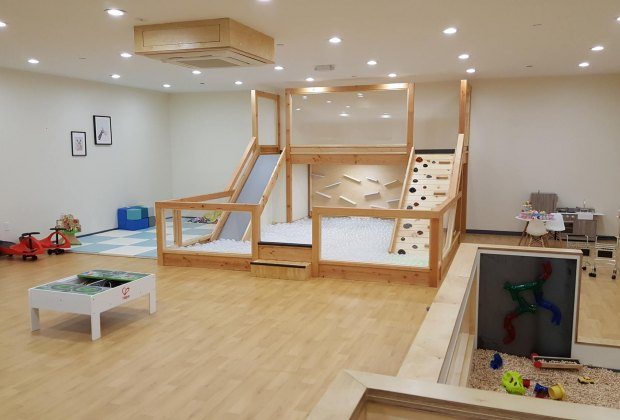 Good Day Play Cafe Wide interior view of playspace Brooklyn Drop-In Play Spaces and Kiddie Gyms
