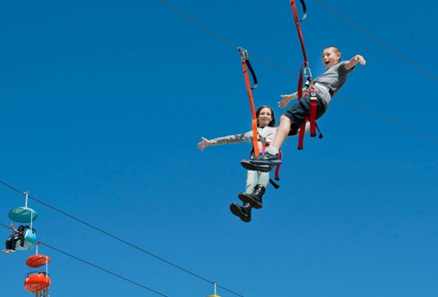 Zip-lining on Governors Island is the latest big kid attraction in NYC. Photo courtesy Governors Island