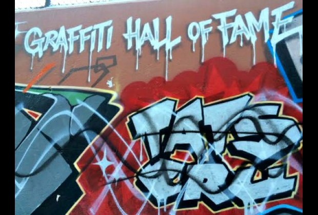 A few blocks from the museum, you'll find the Graffiti Hall of Fame,<br/> an ever-changing canvas for top artists